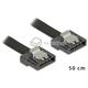 Kabel SATA 6 Gb/s elastyczny FLEXI prosty 50cm czarny zatrzask HTPC 83841