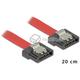 Kabel SATA 6 Gb/s elastyczny FLEXI prosty 20cm czerwony zatrzask HTPC 83833