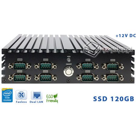 Komputer NUC Fanless Intel Celeron J1900 2.0GHz 4GB SSD 120GB Delta-NUC10-SSD120-A 9xCOM 12VDC