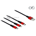 Kabel do ładowania USB 3w1 Apple Lightning micro-B USB-C 100cm Delock 85892