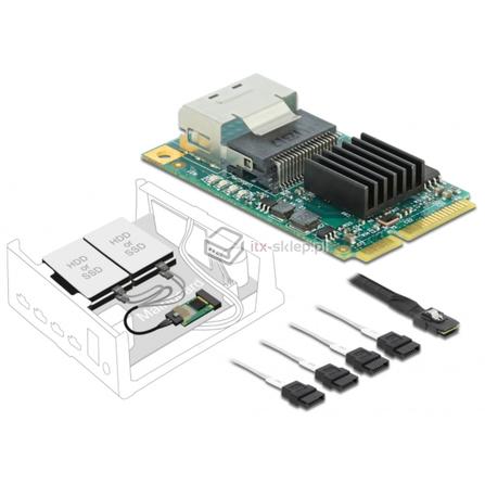 Kontroler SATA III 6Gbps mini PCI-Express 4xSATA SFF-8087 Delock 95000
